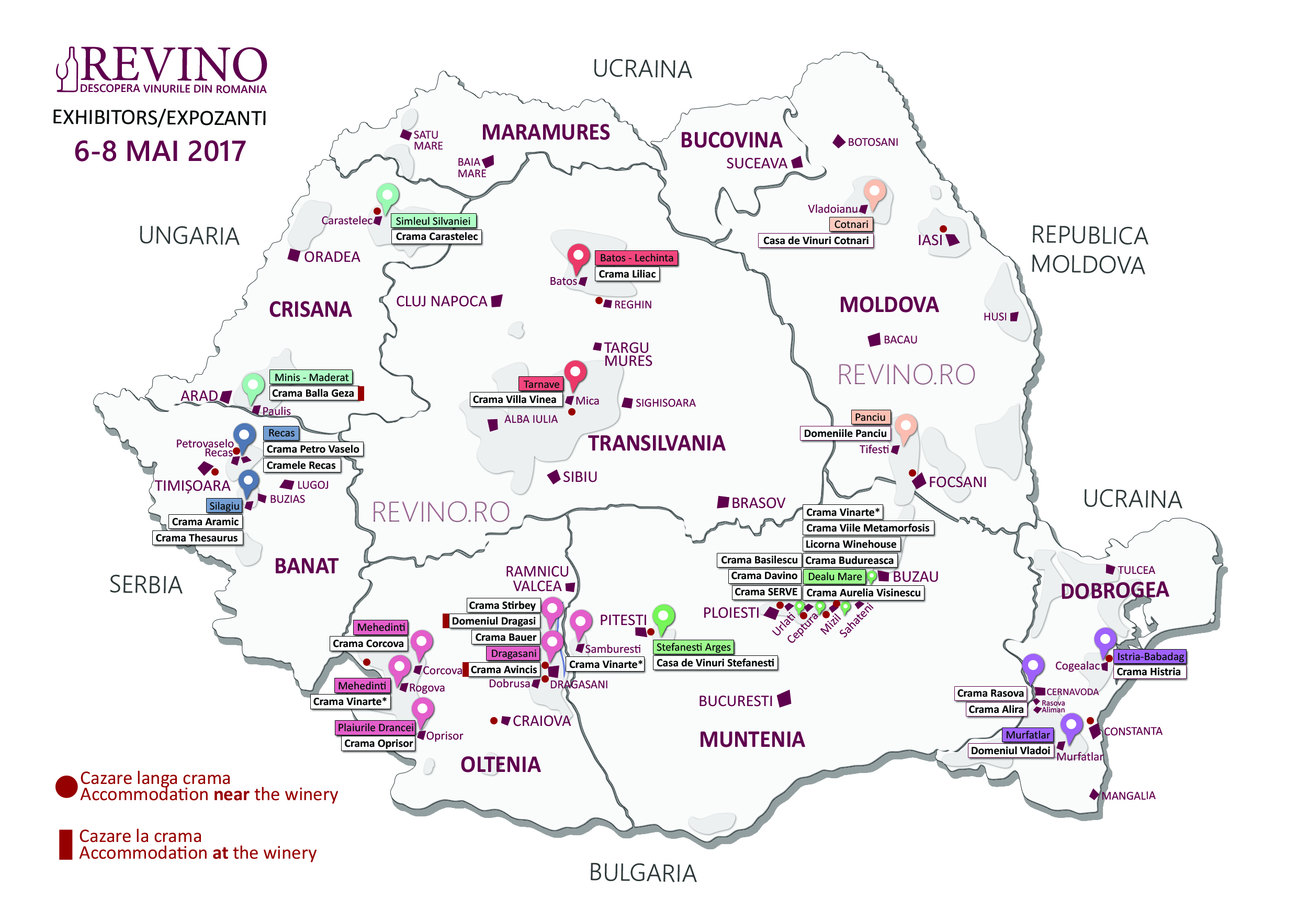 Romania Wine Map Exhibitors 2017